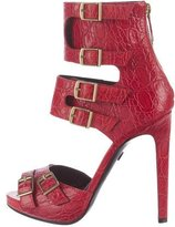 Emilio Pucci Crocodile Ankle Strap Sandals