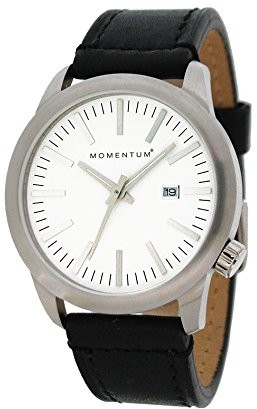 Momentum Mens Quartz Watch | Logic 42 by | Stainless Steel Watches for Men | Sports Watch with Japanese Movement & Analog Display | Water Resistant watch with Date White / Black Leather