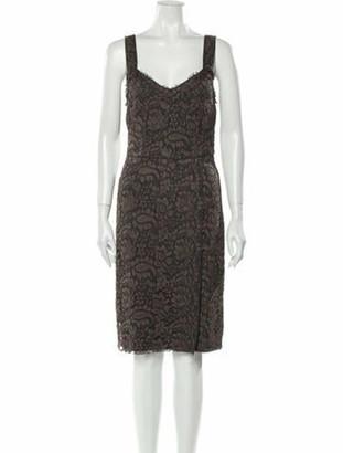 Dolce & Gabbana Lace Pattern Knee-Length Dress Grey