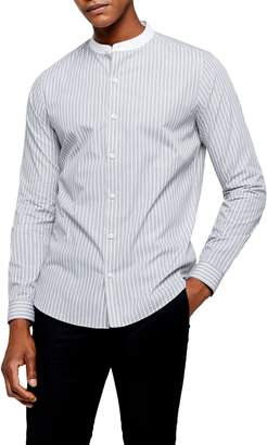 Topman Grandad Slim Fit Stripe Button-Up Band Collar Shirt
