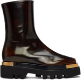 Thumbnail for your product : Peter Do Brown Metal Square Toe Combat Boots