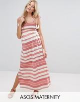 Asos Stripe Maxi Dress with Pom Pom and Shirring Detail