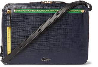Smythson Cross-Grain Leather Messenger Bag