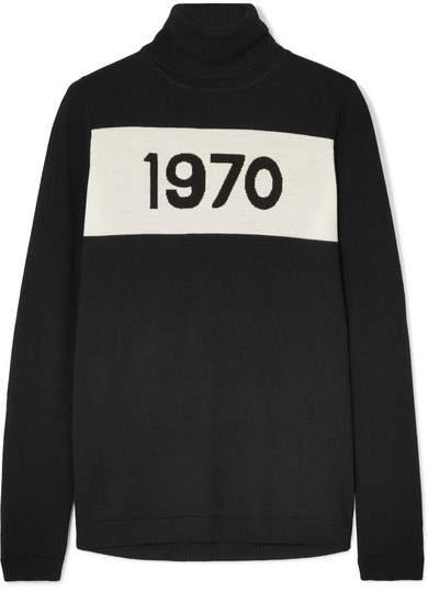 1970 Wool Turtleneck Sweater - Black