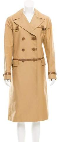 Marc Jacobs Leather-Trimmed Double-Breasted Coat