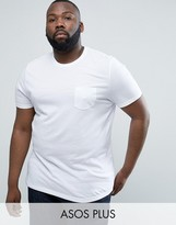 Asos PLUS T-Shirt With Crew Neck And Pocket In White