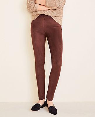 Ann Taylor Petite Faux Suede Seamed Side Zip Leggings