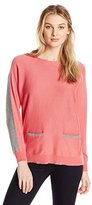 Vince Camuto Women's Long Sleeve Boatneck Colorblock Sweater with Front Pockets