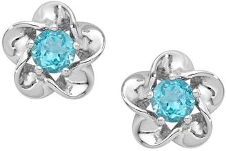 Sterling Silver Floral Gemstone Post Earrings