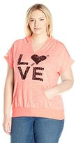 """Miss Chievous Junior's Plus-Size Short Sleeve Po Hoodie with Lace """"Love Graphic"""""""