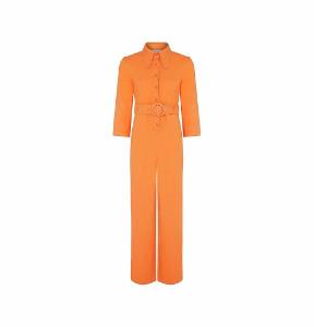 House of Sunny - Thee Coveralls Orange Jumpsuit - 6 (UK) | cotton | orange - Orange/Orange