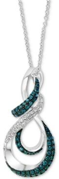 Effy Blue Diamond (1/3 ct. t.w.) & White Diamond (1/5 ct. t.w.) Swirl Pendant Necklace in 14k White Gold