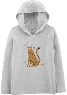 Carter's Big Girl Leopard Hooded Jersey Tee