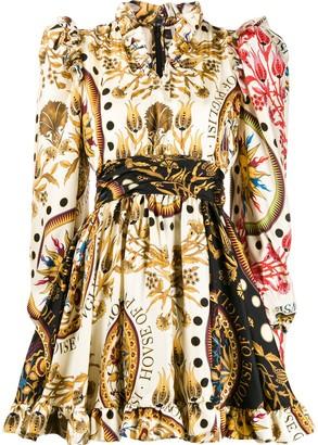 Fausto Puglisi ruffle trim printed dress
