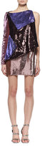 Tom Ford Sequined Colorblock One-Sleeve Dress