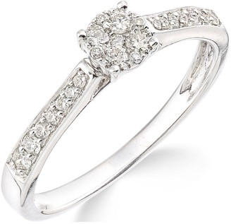 Love Diamond 9ctWhite Gold 25 Points of Diamonds Ring with Stone Set Shoulders