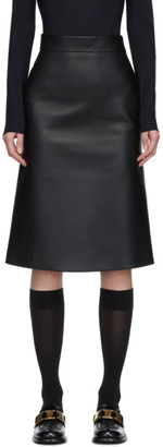 Prada Black Opaque Leather Skirt