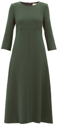 Goat Happy Wool-crepe Midi Dress - Dark Green