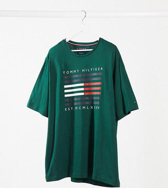 Tommy Hilfiger Big & Tall corp flag lines logo t-shirt in green