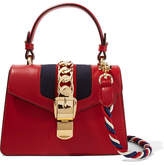Gucci Sylvie Mini Chain-trimmed Leather And Canvas Shoulder Bag - Red