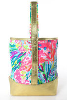 Lilly Pulitzer Gold Pink Blue White Canvas Abstract Print Clutch Bag New