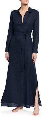 POUR LES FEMMES Long Linen Lounge Shirtdress