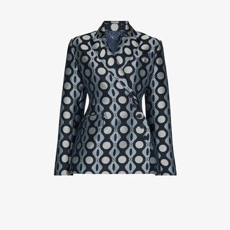 Charles Jeffrey Loverboy Blue Caterpillar Print Double-Breasted Blazer