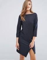 Sisley Dress in Pin Stripe with Asymetric Hem