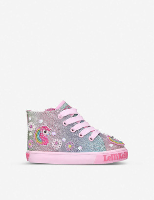 Lelli Kelly Kids Unicorn Baby glittered canvas mid-top trainers 1-4 years