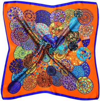 Bees Knees Fashion Orange Blue Abstract Circle Printed Small Thick Silk Square Scarf