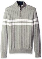 Nautica Men's Chest Stripe Quarter Zip Sweater