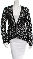 Yigal Azrouel Lace Leather-Trimmed Cardigan w/ Tags