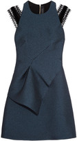 Roland Mouret Torrens Lace-trimmed Organza Mini Dress - Navy