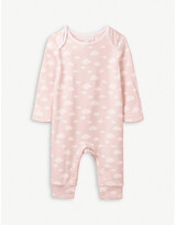The Little White Company Cloud-print cotton sleepsuit 0-24 months
