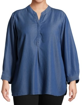 John Paul Richard Plus Size Split Neckline Chambray Shirt
