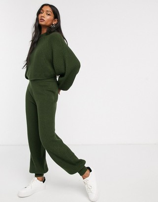 Micha Lounge knitted jogger coord with ribbed cuff-Green