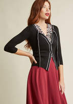 ModCloth Tie-Neck Cardigan with Piping in Black in 2X