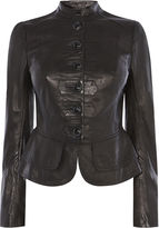 Karen Millen Leather Drummer Boy Jacket - Black