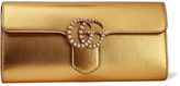 Gucci Gg Marmont Faux Pearl-embellished Metallic Leather Clutch - Gold