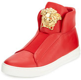 Versace Palazzo Idol Leather High-Top Sneaker, Red