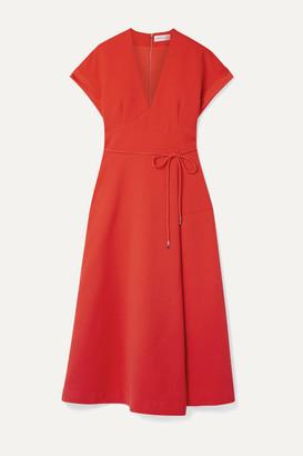Rebecca Vallance Galerie Cloque Midi Dress - Tomato red