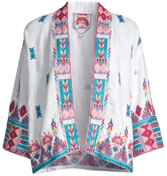 Johnny Was Laurelle Embroidered Linen Kimono