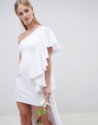 Asos Edition EDITION asymmetric ruffle wedding dress with high low hem-White