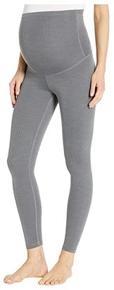 Beyond Yoga Maternity Heather Rib Midi Leggings (Gray Heather) Women's Casual Pants