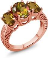 Gem Stone King 3.20 Ct Oval Mango Mystic Topaz Whiskey Quartz 18K Rose Gold Plated Silver Ring