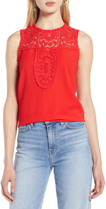 Halogen Lace & Crepe Top