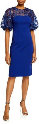 Carmen Marc Valvo 3D Embellished Puff-Sleeve Crepe Sheath Dress