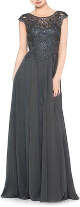 Marsoni Scalloped Lace & Chiffon A-Line Gown