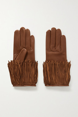 Agnelle Lena Fringed Leather Gloves - Tan