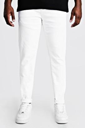 boohoo Mens White Big & Tall Skinny Fit Jeans, White